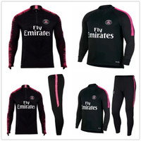 Wholesale psg jacket - PSG adult Soccer tracksuit set 2018 2019 Paris tracksuits 18 19 MBAPPE NEYMAR JR LUCAS HOME Football jacket kit Training suit