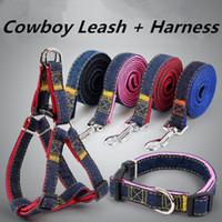 harnais roses pour chiens achat en gros de-Harnais réglable de chaîne de corde de cowboy d'animal familier avec la laisse Laisse en nylon de chien pour le chiot bleu rose