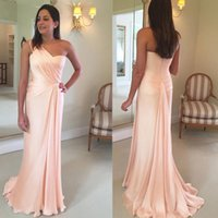 Wholesale one shouldered long bridesmaid dresses resale online - 2019 New Custom Made Blush Pink Bridesmaid Dresses One Shoulder Ruched Sheath Sweep Train Maid of Honor Gown BM0177