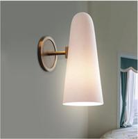ingrosso moderne lampade da parete in acciaio inox-svitz Post-modern Home Applique da parete Creativo Fashion Stainless Steel Bedroom Corridor Model Ceramic Bedside Porcellana Wall Lamp