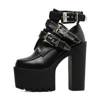 ботинки для обуви на высоком каблуке оптовых-Модная пряжка Мартин Сапоги Женщины Мягкая кожа Весна Осень Черные женские ботильоны Сапоги Ultra High Heels Shoes Platform
