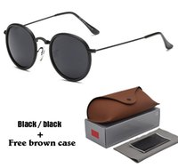 Wholesale sunglasses packaging design resale online - Brand design Round Sunglasses Women men Metal Frames Mirror UV400 Lenses female Sun Glasses retro Male oculos de sol with Retail package