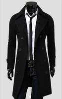 casacos de cashmere dos homens venda por atacado-Nova 2016 Mens Designer roupa estilo britânico Cashmere Trench casaco de lã Outono jaqueta corta-vento Overcoat Men Casacos DFBTC001