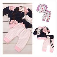 çocuklar mor üst çiçekler toptan satış-Bebek Çiçek Giysileri Takım Elbise Çiçekler Baskı üstleri Çizgili Pantolon Setleri Yenidoğan Çocuklar Kızlar Mor Takım Elbise Suits Pamuk Giyim Kıyafetler
