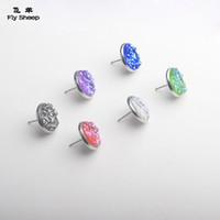 Wholesale trendy handmade earrings - Nice handmade resin round druzy earrings trendy simple stainless plated wholesaling resin stone earring for lady