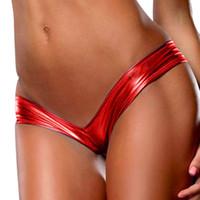 imitação de cueca venda por atacado-10 Cor Sexy Bare Imitação De Couro Cuecas Lingerie Cuecas Do Partido Das Mulheres Metálico Thong Cueca Calcinha Biquíni Tangas A30