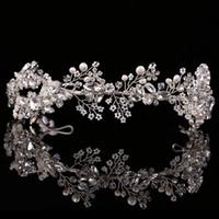 jóias requintadas tiaras venda por atacado-Jóias de alta qualidade cabelo Exquisite Crystal Pearl casamento Headband Tiara Jóias de Ouro / Prata headpiece noiva Acessórios de cabelo X912