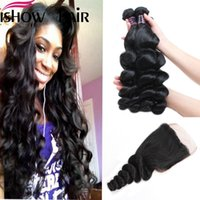Wholesale 3bundles brazilian weave for sale - Loose Wave Hair Bundles With Closure Best A Brazilian Peruvian Human Hair Weave Bundles With Closure Hair Extension