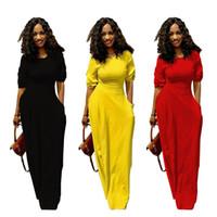 Vestito a maniche lunghe maxi con scollo a maniche lunghe giallo   nero    rosso Vestito a maniche lunghe con scollo a risvolto ultimo disegno elegante 4c560cdcf37