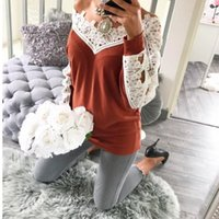 Wholesale sweaters lace bottom - jumper Autumn 2018 Women long sleeve sexy sweater female Lace stitching casual wool bottoming sweater women sweater pullover