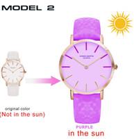Wholesale ladies rose pink belts resale online - DHL new UV Sensitive Watch Under Sunlight BS36 Rose Gold Discoloration Belt Student Trend Cool Lady Color Change Watch