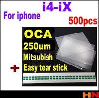 oca optischer kleber großhandel-500 stücke DHL 250um OCA Optischer Klar Kleber Aufkleber Für Iphone X 4 4 s 5 s 6 6 p 7 8 mit einfache träne