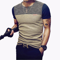 Wholesale mens slim fit top - Summer Fashion Men's T Shirt Casual Patchwork Short Sleeve T Shirt Mens Clothing Trend Casual Slim Fit Hip-Hop Top Tees 5XL