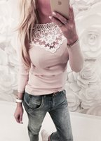 сладкие сексуальные майки оптовых-Women T-shirt Sexy Lace Sweet Long Sleeve Solid Color Slim Fit O-neck Autumn Casual Tops T-shirts Women Clothes