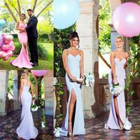 vestidos de damas de honor al por mayor-2019 elegante cariño de alta rendija de la sirena vestidos de dama de honor baratos vestidos de dama de honor vestido de fiesta de bodas