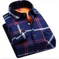 Wholesale Thickening Plaid Shirt - 2017 New Autumn and Winter Business Men's Warm Plaid Shirt Casual Wear Long Sleeved and Cashmere Thickening Man Clothes