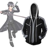 cosplay achat en gros de-Asiatique Taille Japon Anime Épée Art En Ligne Kirito Cosplay Costume 3D À Manches Longues Zipper Manteau Veste À Capuche