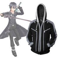 casaco em linha da arte da espada venda por atacado-Tamanho asiático Japão Anime Espada de Arte Em Linha Kirito Cosplay Traje 3D Manga Comprida Com Zíper Casaco Jaqueta Com Capuz