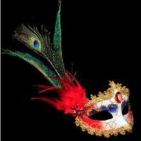 máscaras de pavo real plumas al por mayor-2018 Mujeres Lady Girls Peacock Feather Mask Mascarada Venetian Ball Masks Wedding Dress Party Supplies Navidad Año Nuevo