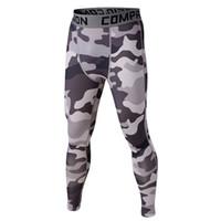 pantalon de compression camo achat en gros de-Nouveau Mens Sport Compression Slim Leggings Couche de Base Pantalon Long Pantalon Imprimé Camo