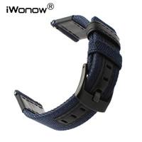 ingrosso tempo di ghiaia-Cinturino in nylon da 22 mm + cinturino in vera pelle per 2 46 mm Cinturino in cinturino a sgancio rapido di Huawei Watch 2 (classico) Pebble Time
