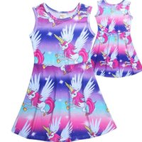 Wholesale babies clothes shops - 2018 NEW Cute Baby Unicorn Cotton Clothes Princess Summer Party Clothing Girls Vest skirt Floral Holiday Dress Free Shopping