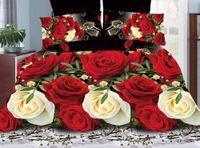 conjunto de edredons de rosa vermelho com rei venda por atacado-3d vermelho-amarelo rosa Presens de Casamento roupa de cama roupa de cama lençol capa de edredão fronhas luxo rei rainha tamanho consolador capa