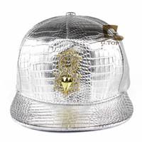 Wholesale diamond backs hats for sale - Baseball Caps Diamond Gold Crocodile Grain Snap Back Hat Men Women Sports Hiphop Hats Leather Adjustable jd V