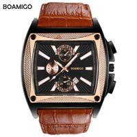 reloj de la marca boamigo al por mayor-BOAMIGO marca hombres relojes de cuarzo dial grande moda reloj de pulsera de cuero marrón correa de reloj automático fecha regalo reloj relogio masculino