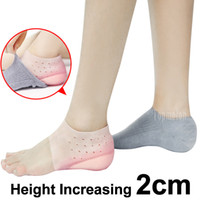 Wholesale liner dress resale online - 2cm Invisible Height Lift Heel Pad Sock Liners Increase Heightened Gel Insole Dress In Socks Relieve Plantar Fasciitis Foot Pain