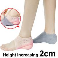 gel einlegesohlen höhe erhöhen großhandel-2cm unsichtbare Höhe Lift Heel Pad Sock Liner erhöhen erhöhte Gel Einlegesohlen Kleid in Socken entlasten Plantar Fasciitis Fußschmerzen