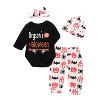 Wholesale Mikrdoo Toddler Infant Baby Boys Girls Halloween Clothes Set Letters Print Long Sleeve Romper Pumpkin Print Pant Hat Headband Outfit