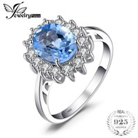 Wholesale diana engagement ring resale online - JewelryPalace Princess Diana Kate ct Natural Blue Topaz Engagement Halo Ring Sterling Silver Ring for Women