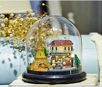Wholesale wooden toy model houses resale online - DIY Paris Iron Gauge Tower Building Model Villa Doll House Miniature Model With Furniture D Wooden House Toys Gifts For Kids