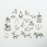 Wholesale vintage silver horse pendant resale online - On Sale New Assorted horse Charms beads Alloy Plated Vintage silver Pendant Fit Jewelry DIY