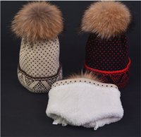 Wholesale Nordic Knitted - GIRLS WOMEN NORDIC KNIT TURN CUFF HAT WITH COSY PLUSH LINING AND LARGE 18CM GENUINE RACCOON FUR POM 3 COLOR FREE UPS FEDEX SHIPPING(CX16441)