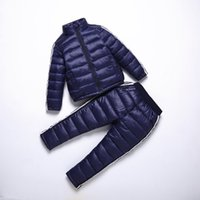 garotas de garotas para baixo conjunto de casaco venda por atacado-BINIDUCKLING Menino Menina Sportswear Set Crianças Casaco Quente Para Baixo Jaqueta + Calças Jaqueta de Esqui Terno Para Meninos Roupas de Inverno para Crianças