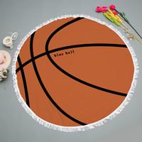 pelotas redondas grandes al por mayor-Nuevo diseño de 150 cm de fútbol grandes toallas de playa bolas de microfibra borla redonda toalla de natación de verano alfombra de playa alfombra