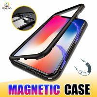 ingrosso custodia in alluminio iphone-Custodia per telefono in metallo ad adsorbimento magnetico per iPhone 11 Pro Xr Xs Max X Telaio in lega di alluminio a copertura completa con cover posteriore in vetro temperato