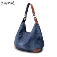 Wholesale Blue Jean Bag - 2017 Large Luxury Ladies Denim Handbag Big Shoulder Bag Blue Jeans Handbag Jean Denim Tote Crossbody Ladies Shoulder Bag