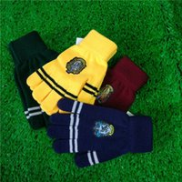 Wholesale Gloves Cartoon - Harry Cosplay Potter College Gloves Gryffindor Slytherin Ravenclaw Hufflepuff Gloves Badge Winter Warm Glove Cartoon Halloween Gift 240635