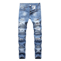 moda jeans grandes buracos venda por atacado-Moda Lavar Buracos Quebrados Jeans Slim Fit Macho Demin Calças Retas Homens High Street Wear Quintal Grande 42