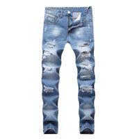 mode jeans große löcher großhandel-Mode Waschen Gebrochene Löcher Jeans Slim Fit Männlichen Demin Gerade Hosen Männer High Street Wear Big Yard 42