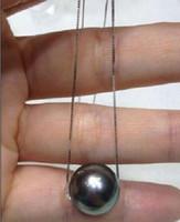 11мм подвеска из белого жемчуга оптовых-10-11 мм натуральный круглый таитянский Черный жемчуг кулон в Белом Серебряном ожерелье