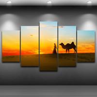 lienzo asiático arte de la pared al por mayor-5 Unids / set Enmarcado HD Impreso Sunset Camel Desert Wall Canvas Poster Poster Arte Asiático Moderno Pinturas Al Óleo Fotos
