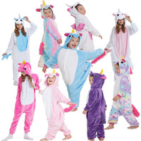 Wholesale onesie clothes resale online - Flannel Unicorn Adult Rainbow onesie costume Cartooon Hoodies Robes animal pajamas pyjama Jumpsuit cosplay costume home clothing GGA928