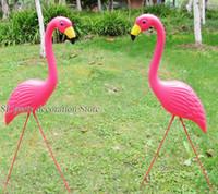 ingrosso ornamenti da giardino giardino-1pair Plastic Pink Flamingo Garden Yard And Lawn Arte Ornamento Cerimonia di nozze Decorazione