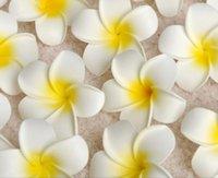 frangipani blumen hochzeit dekorationen groihandel-Hochzeit 100 Teile / los 4 cm Großhandel Plumeria Hawaiian Schaum Frangipani Blume Für Hochzeit Blumenstrauß Dekoration