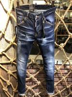 motorcycle retro toptan satış-Marka erkek Yeni Motosiklet Erkekler Kot Moda Retro Ince Düz Kot Erkekler için Rahat Pantolon # 0253 D2 Hip Hop Delik Denim Pantolon
