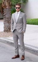 gri ustura stilleri toptan satış-Custom Made Yeni Stil Açık Gri Erkekler Düğün Takımları Resmi Iş Takım Elbise Damat Smokin Erkekler Suits (Ceket + Pantolon) Z620